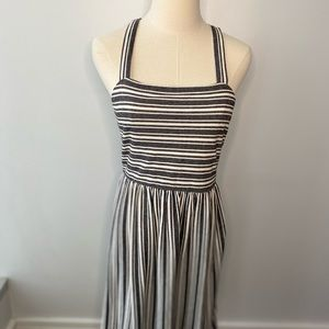 Loft grey and white cotton summer dress